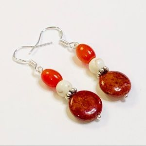 Rust Red Chrysocolla Stone & Howlite Earrings